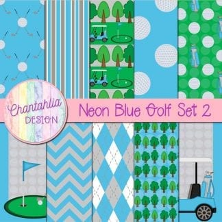 Free digital papers in a Neon Blue Golf theme