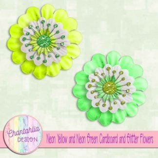 free neon yellow and neon green cardboard and glitter flowers