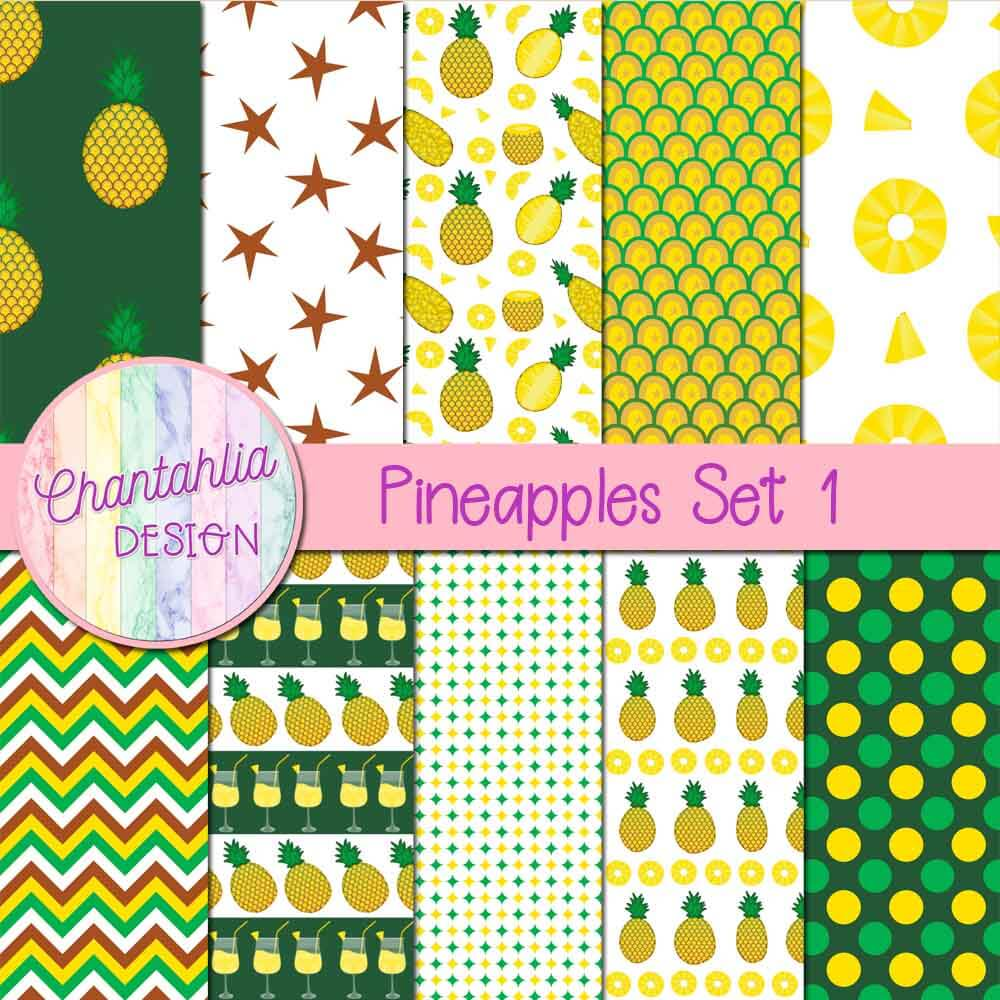 Free digital papers in a Pineapples theme.