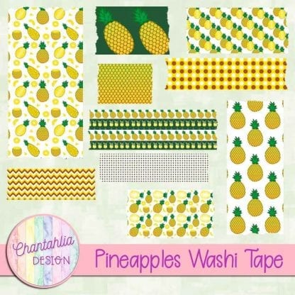 Free washi tape in a Pineapples theme.