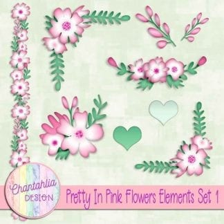 Free design elements in a Pretty in Pink Flowers theme