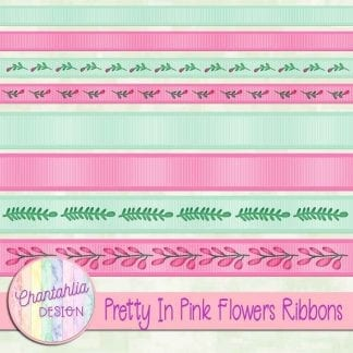 Free digital ribbons in a Pretty in Pink Flowers theme