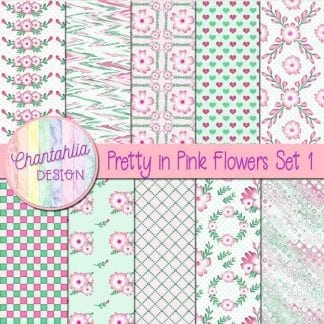 Free digital paperss in a Pretty in Pink Flowers theme