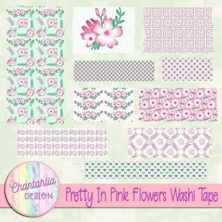 free pretty in pink flowers washi tape
