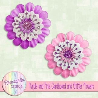 free purple and pink cardboard and glitter flowers