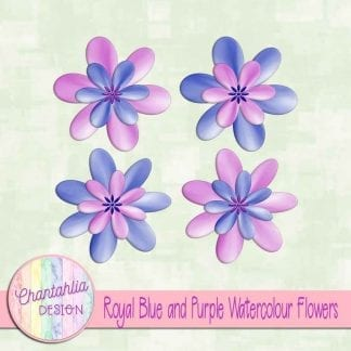 free royal blue and purple watercolour flowers