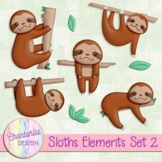 Free design elements in a Sloths theme