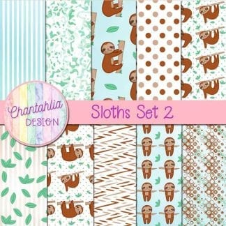 Free digital papers in a Sloths theme