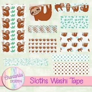 Free washi tape in a Sloths theme.