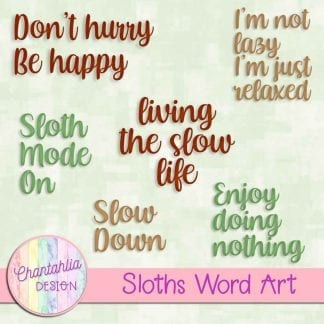 Free word art in a Sloths theme