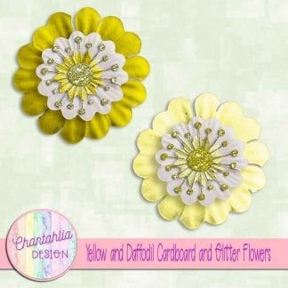 free yellow and daffodil cardboard and glitter flowers
