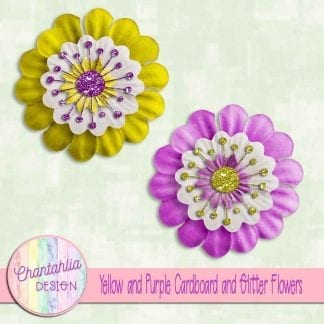 Free yellow and purple cardboard and glitter flowers