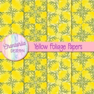 Free yellow digital papers with foliage designs