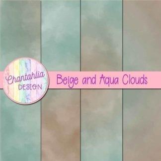 Free beige and aqua clouds digital papers
