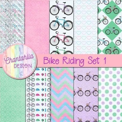 Free digital papers in a Bike Riding theme.