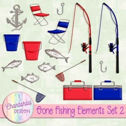 Free design elements in a Gone Fishing theme