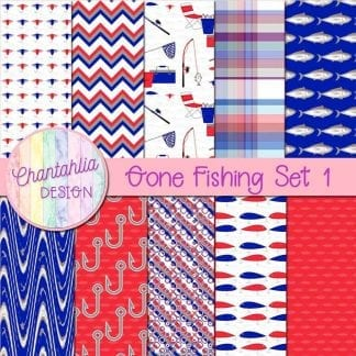 Free digital papers in a Gone Fishing theme