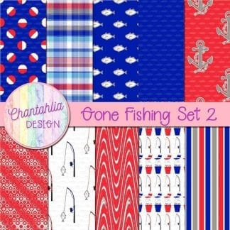 Free digital papers in a Gone Fishing theme.