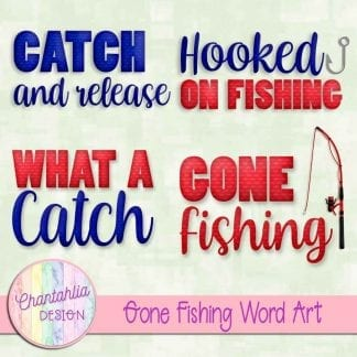 Free word art in a Gone Fishing theme.