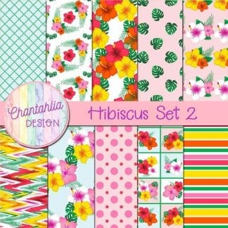 Free digital papers in a Hibiscus theme.