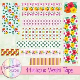 Free washi tape in a Hibiscus theme.