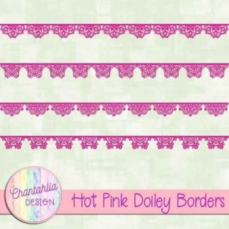 free hot pink doiley borders