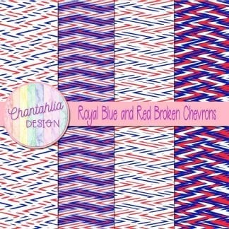 Free royal blue and red broken chevrons digital papers