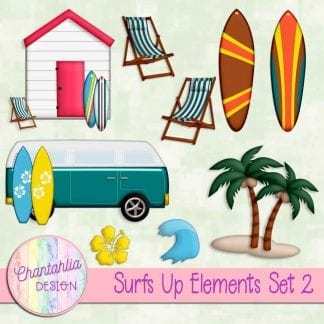 Free design elements in a Surfs Up theme.