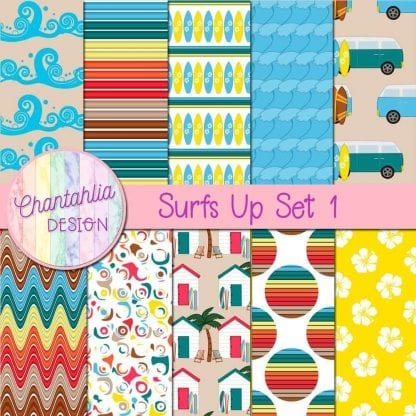 Free digital papers in a Surfs Up theme.