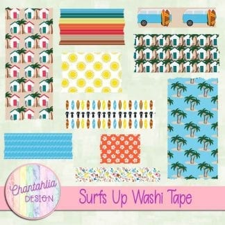 Free washi tape in a Surfs Up theme