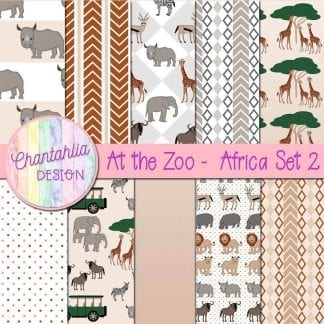 Free digital papers in an At the Zoo - Africa theme.