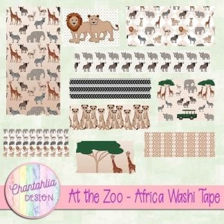 Free washi tape in an At the Zoo - Africa theme.