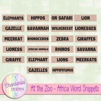 Free word snippets in an At the Zoo - Africa theme