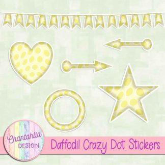Free sticker design elements in a daffodil crazy dot style