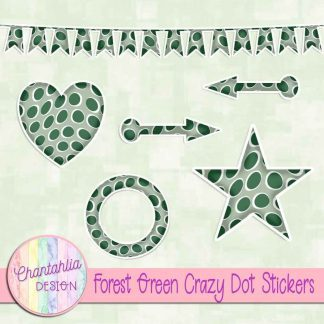 Free sticker design elements in a forest green crazy dot style