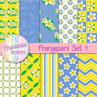 Free digital papers in a Frangipani theme.