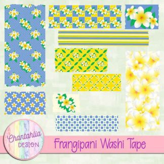 Free digital washi tape in a Frangipani theme