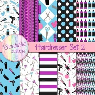 Free digital papers in a Hairdresser theme.