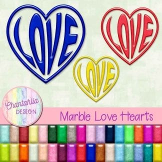 Free love heart design elements in a marble style