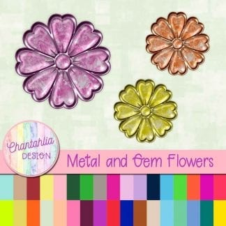 Free flowers in a metal and gem style