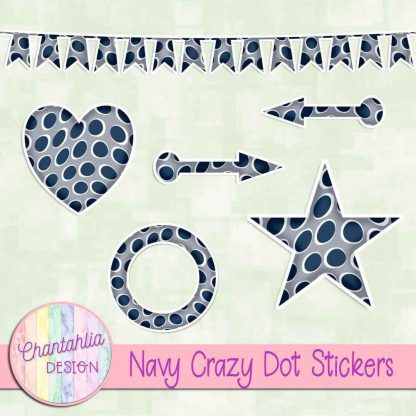 Free sticker design elements in a navy crazy dot style