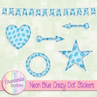 Free sticker design elements in a neon blue crazy dot style