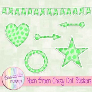 Free sticker design elements in a neon green crazy dot style