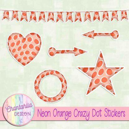 Free sticker design elements in a neon orange crazy dot style