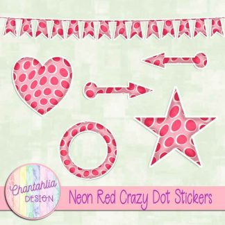 Free sticker design elements in a neon red crazy dot style