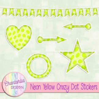 Free sticker design elements in a neon yellow crazy dot style
