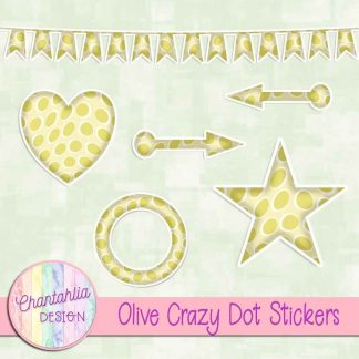 Free sticker design elements in an olive crazy dot style