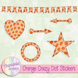 Free sticker design elements in an orange crazy dot style
