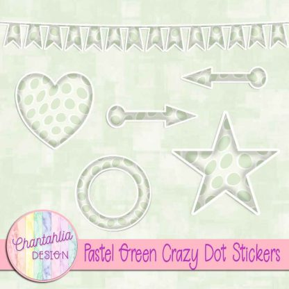 Free sticker design elements in a pastel green crazy dot style