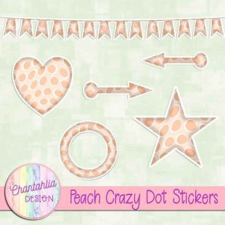 Free sticker design elements in a peach crazy dot style